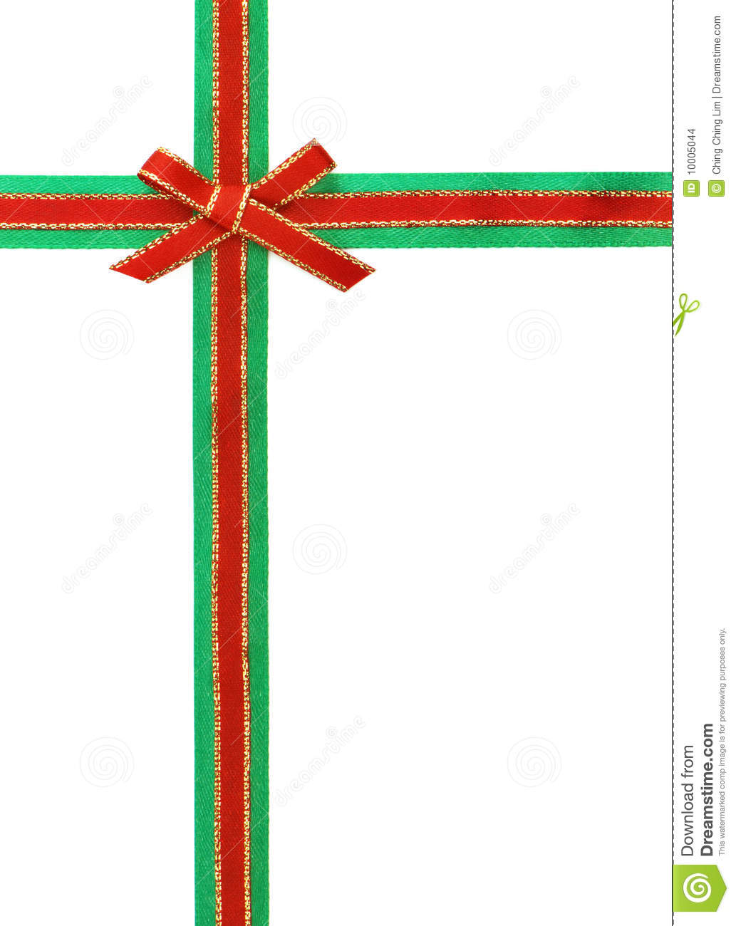Red And Green Ribbon Bow Stock Images Image 10005044