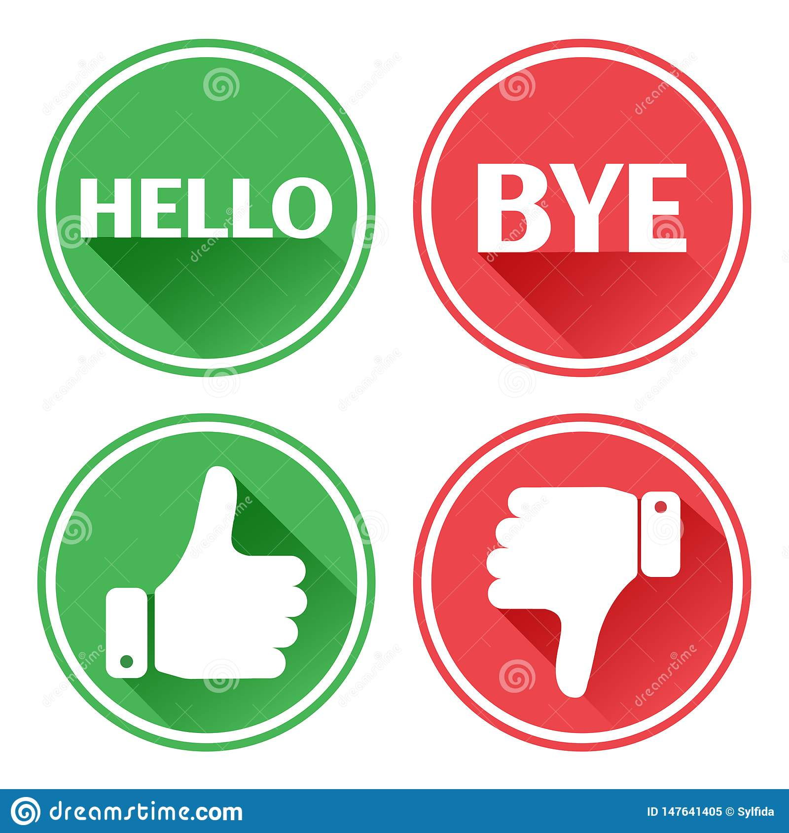 Red and green set buttons. Hello and bye. Thumb up and down. Vector