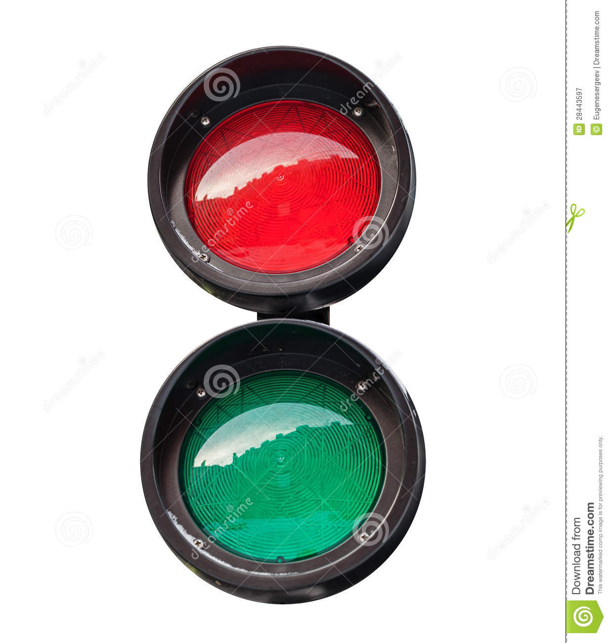 Red And Green Small Round Traffic Light Royalty Free Stock