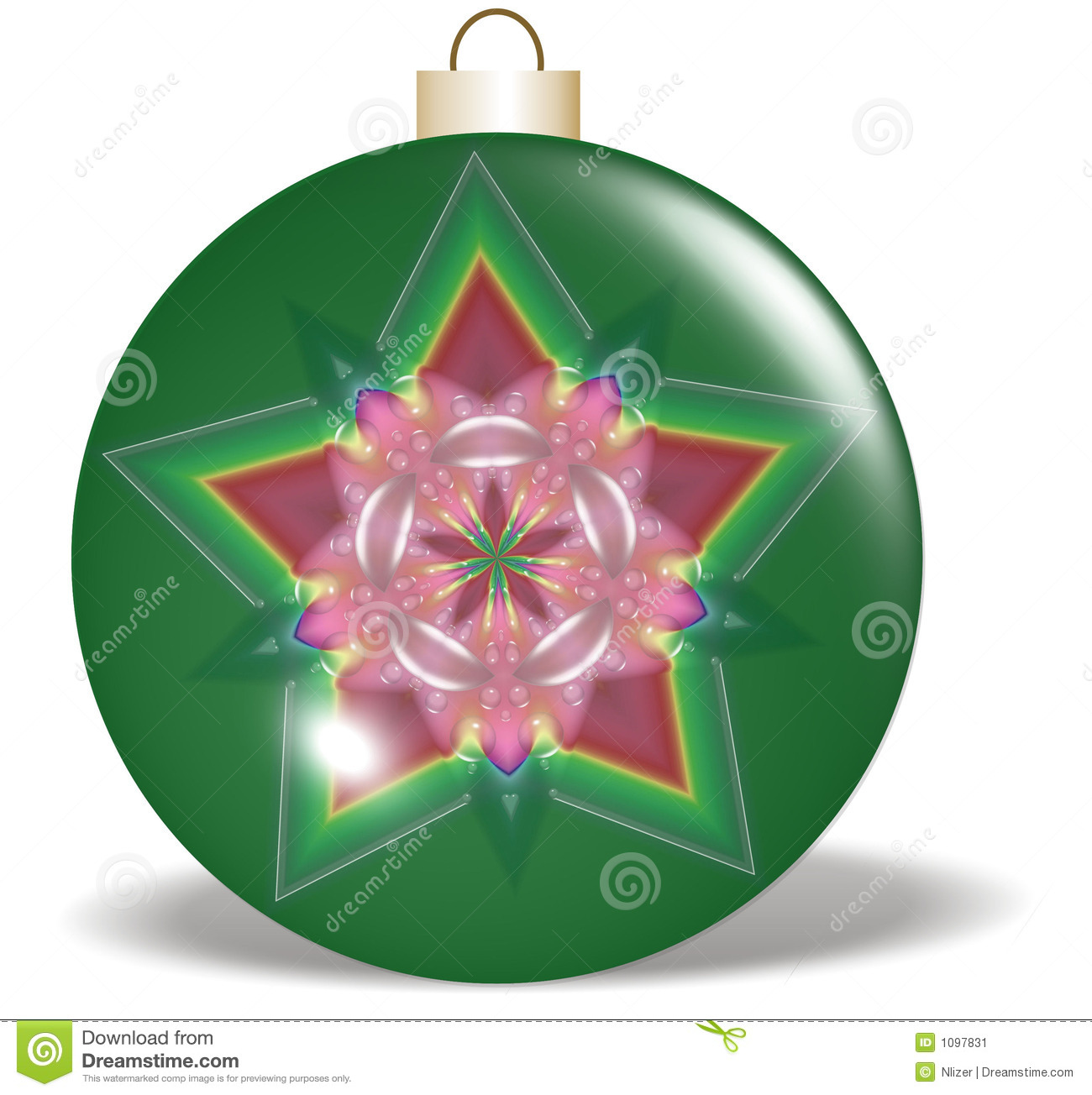 Red green star christmas ornament stock illustration
