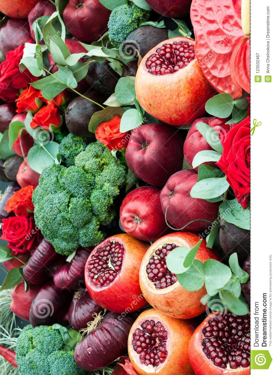 Still Life Of Fruits And Vegetables Stock Image Image Of