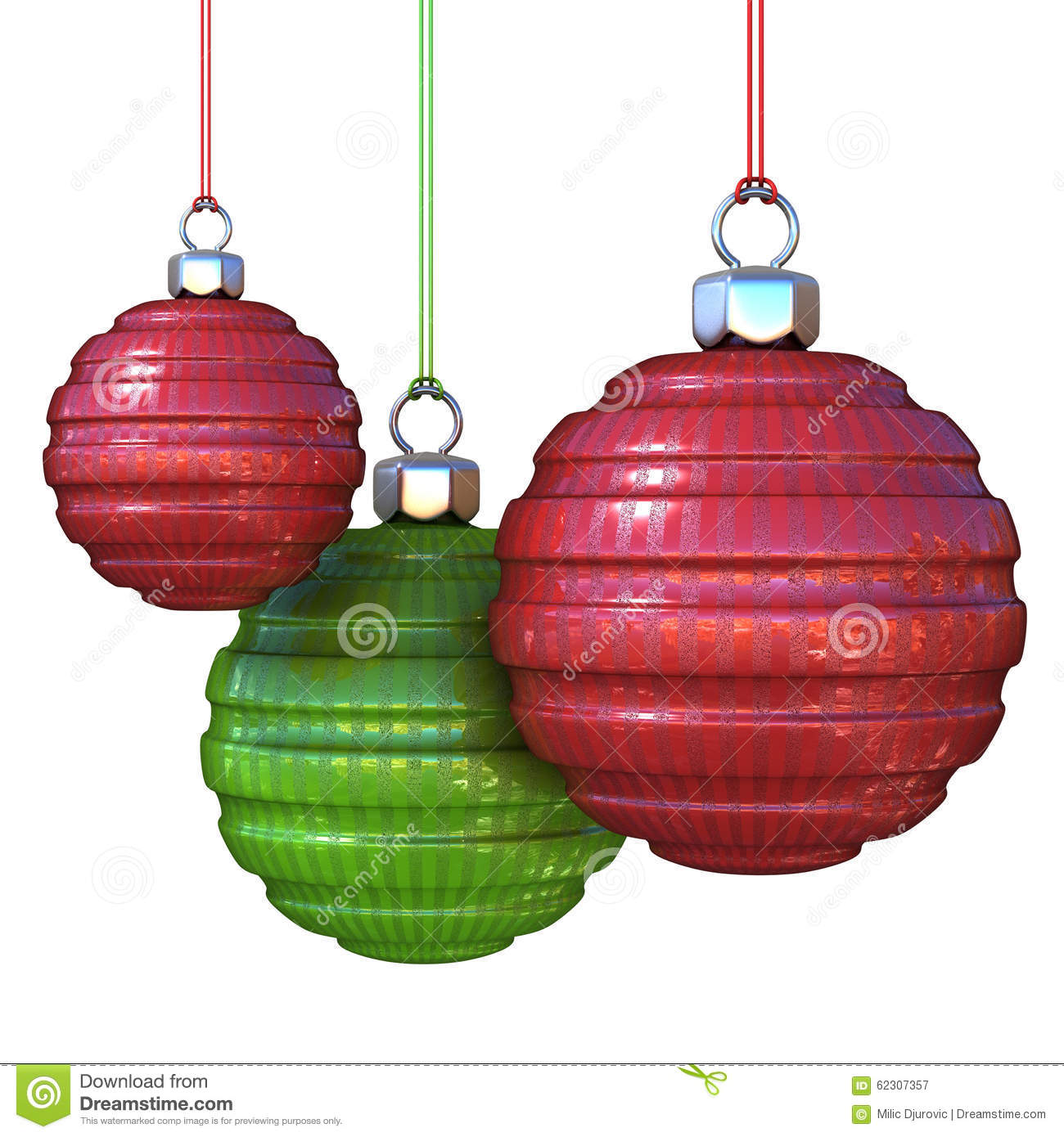 Red and green striped, hanging Christmas balls