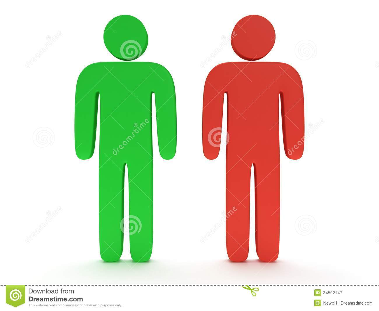 Red And Green Stylized Person Stand On White Stock ...