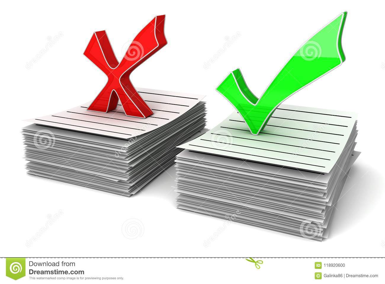 Red And Green Symbols Of Check Mark Stock Illustration