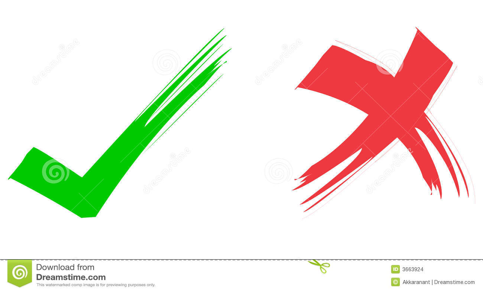 Red & Green Ticks stock vector  Illustration of desk, green
