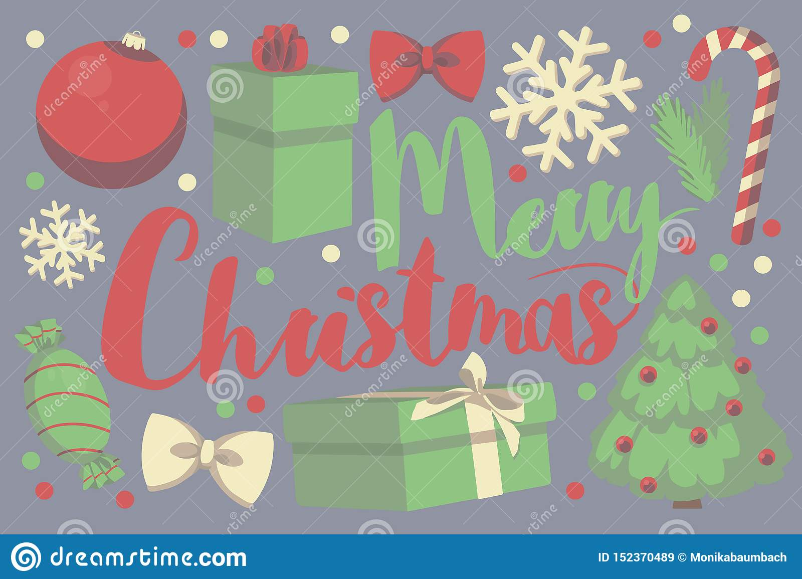 Red and green vector typography Merry Christmas seasonal greeting card with gift box, christmas bauble, snow flake, candy cane