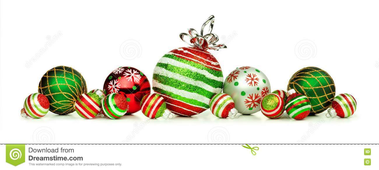 Red Green And White Christmas Ornament Border Isolated On White