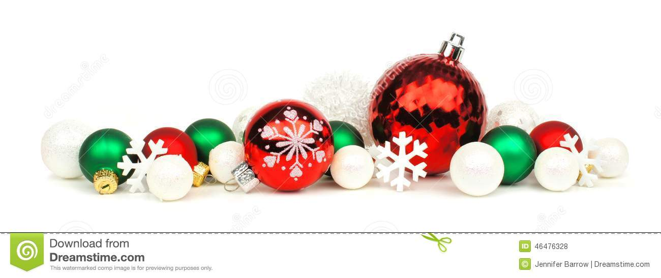 Red green and white christmas ornament border stock photo for Red and green christmas decorations