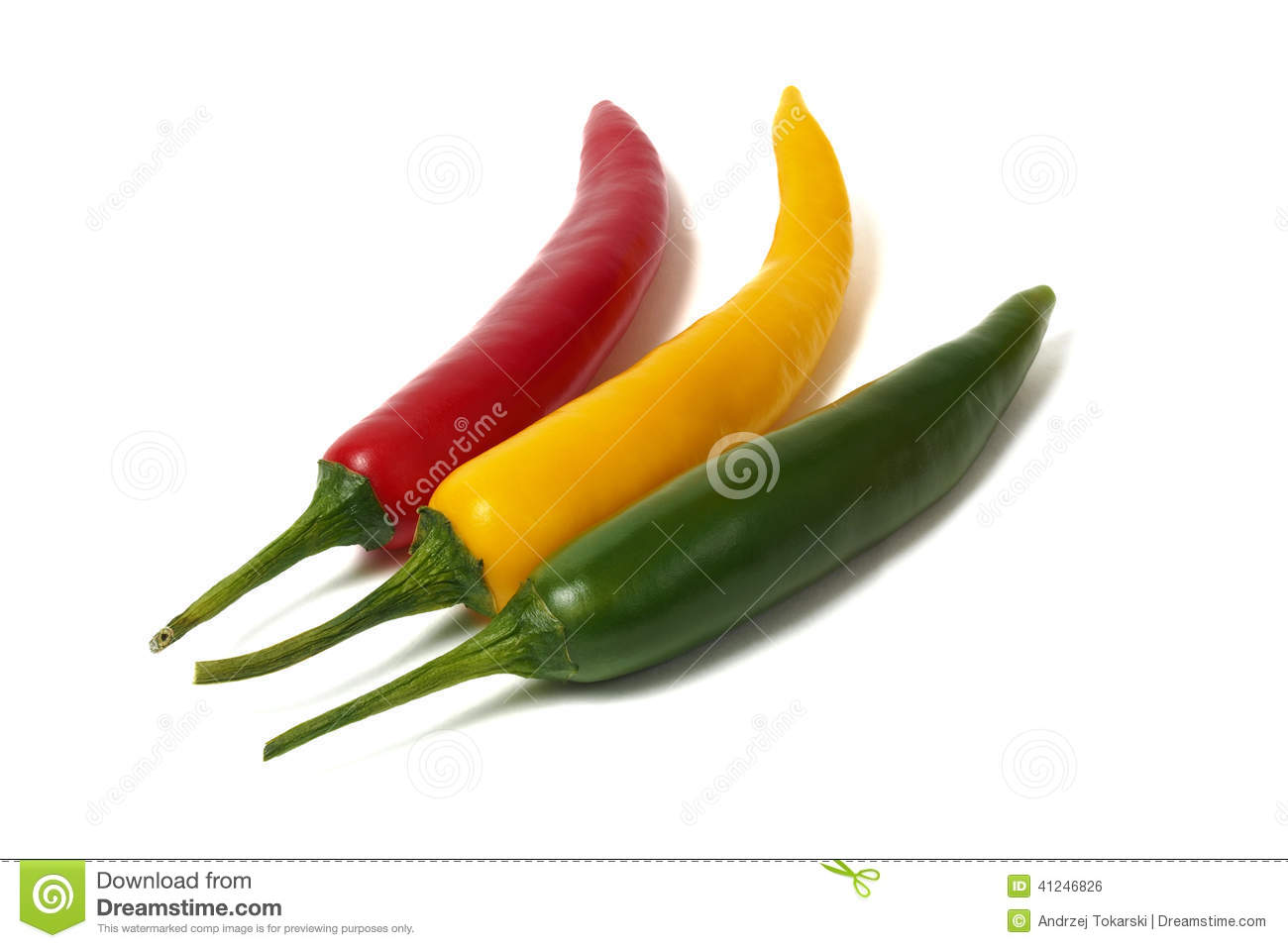 Red, green and yellow hot chili pepper isolated on white background.