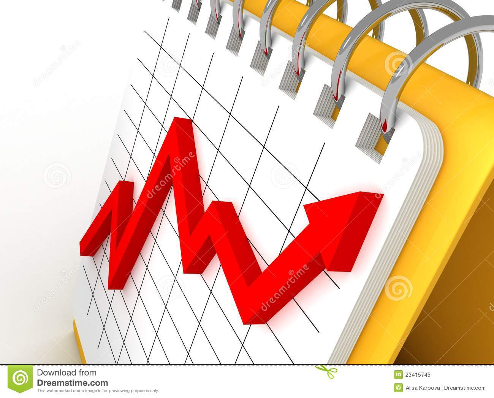 red growing profit arrow graph on desk calendar royalty