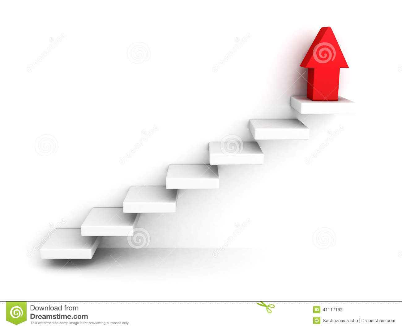 Apartment Kitchen Red Growing Up Success Arrow And Upstairs Steps Ladder