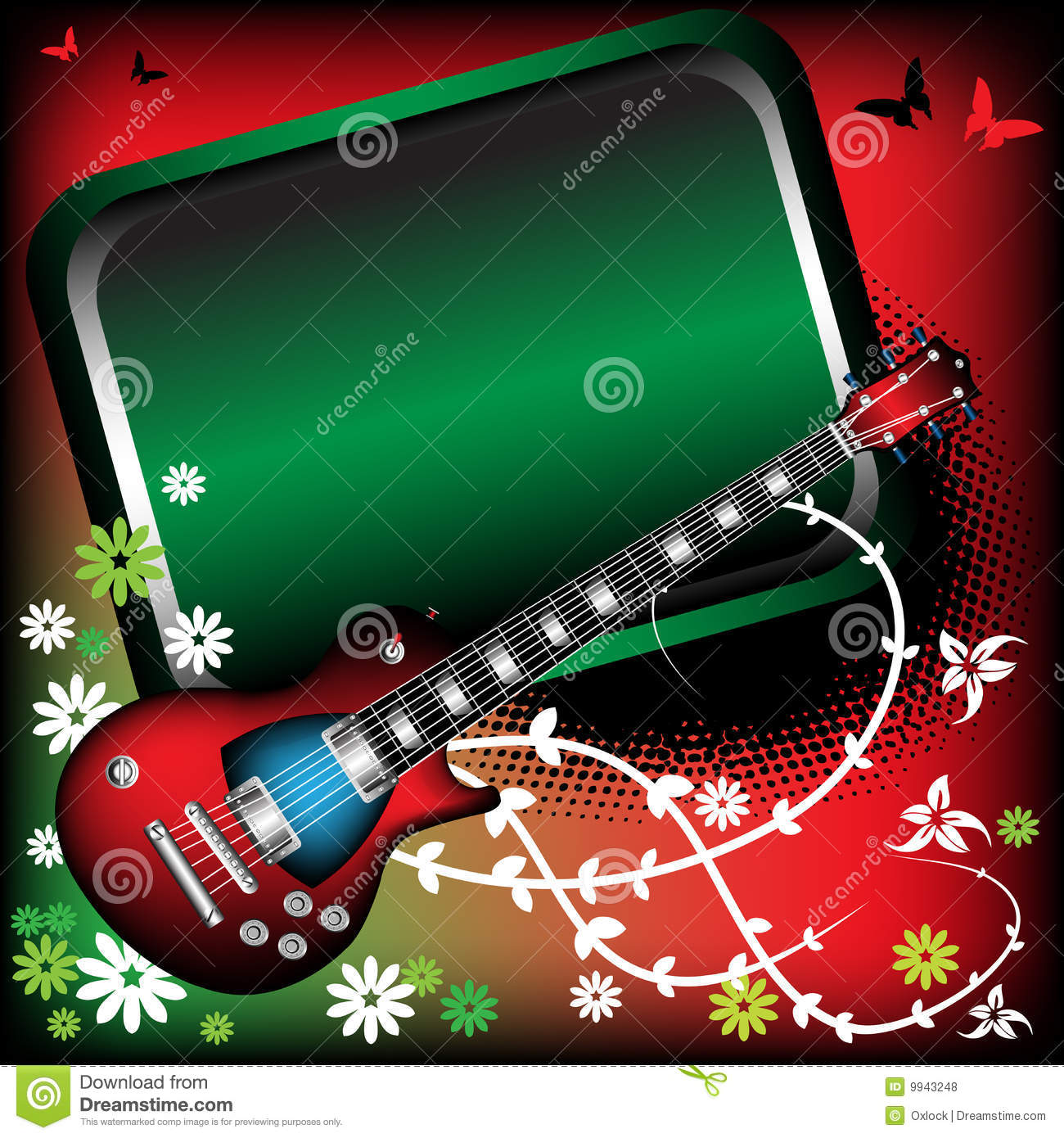 red guitar and green frame