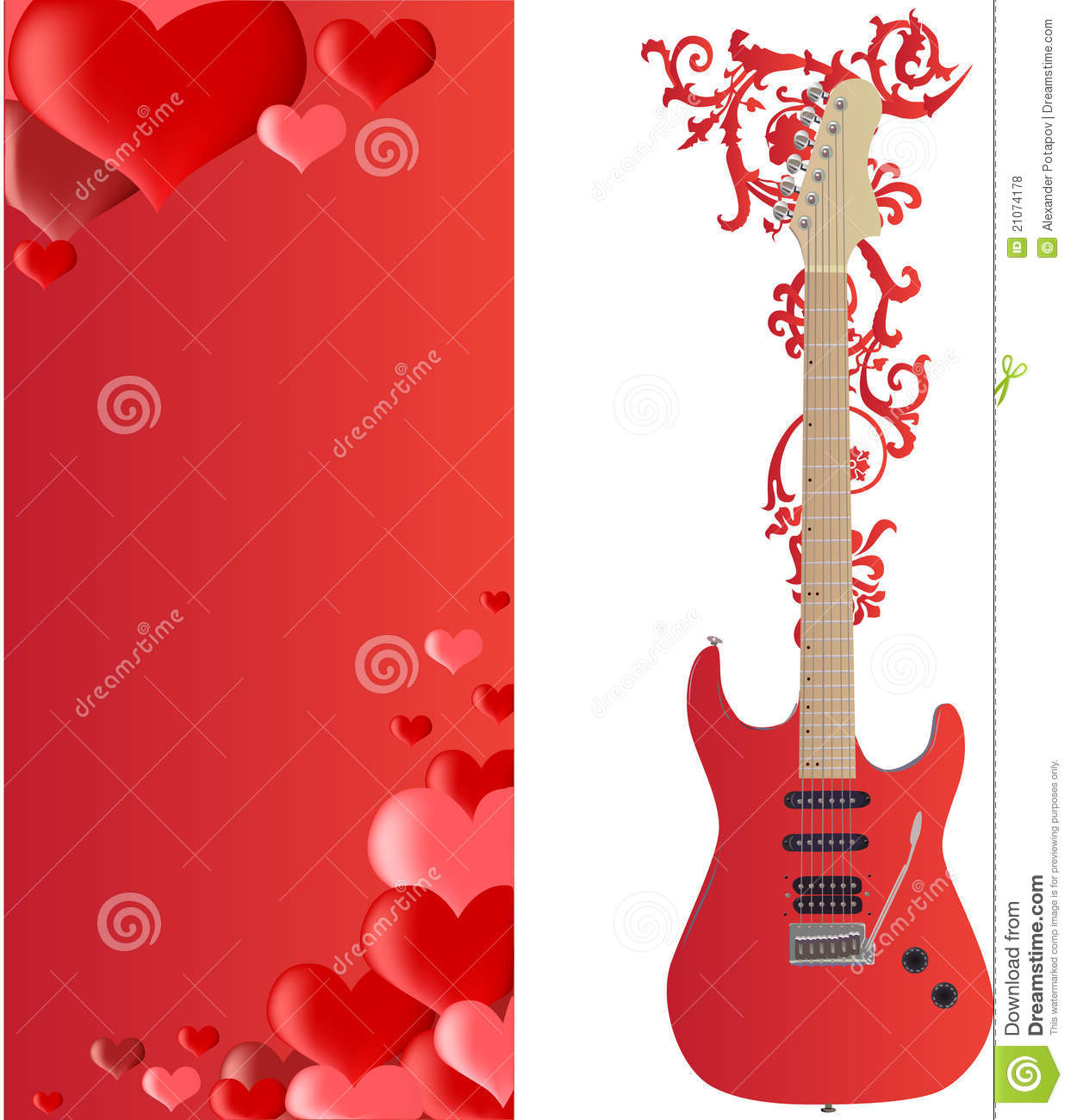 red guitar and hearts frame