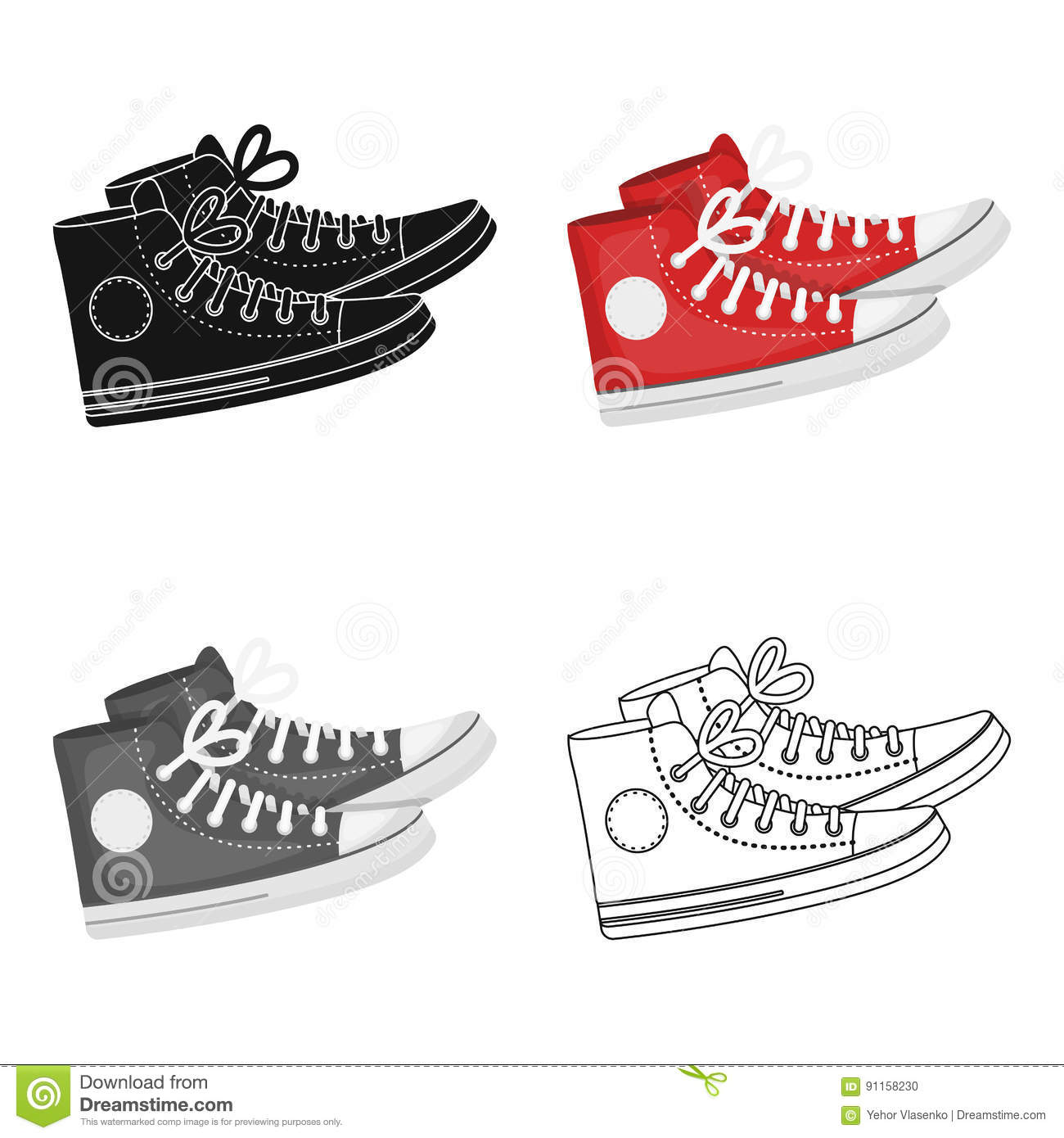 Red Gumshoes Icon In Cartoon Style Isolated On White Background