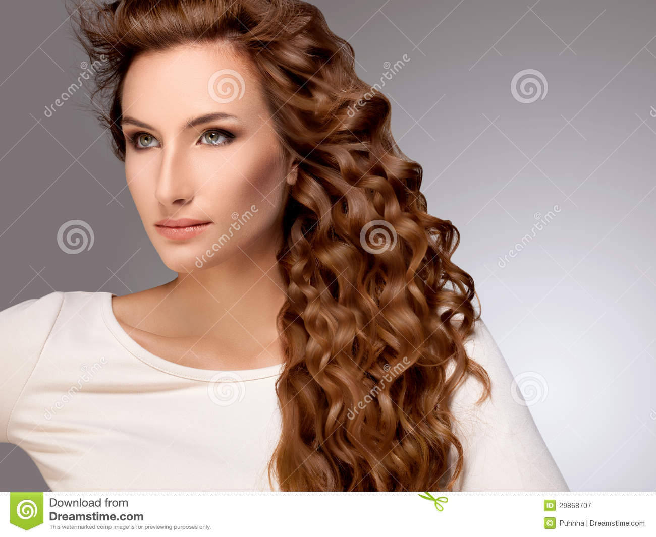 beautiful woman with red curly hair stock image - image: 29868707