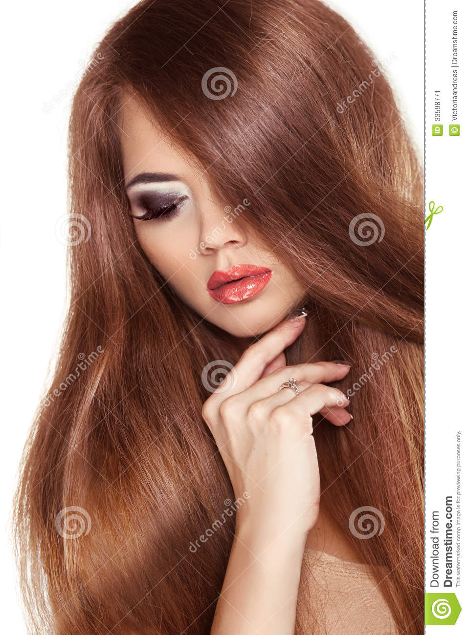 Healthy Straight Long Red Hair Royalty Free Stock Photo