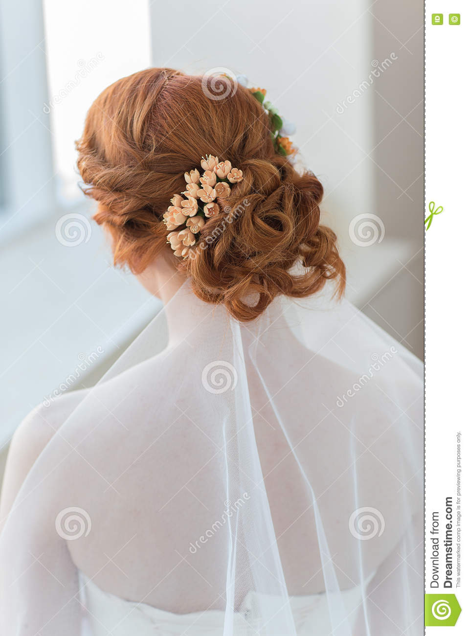 Red hair of the bride stock photo. Image of bridal, person - 71546014