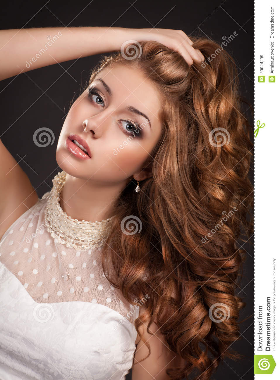 fashion woman with brown hairs perfect skin and ma stock