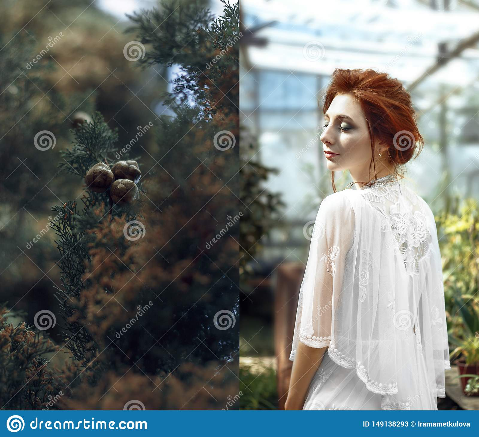 Red hair girl in glasshouse collage