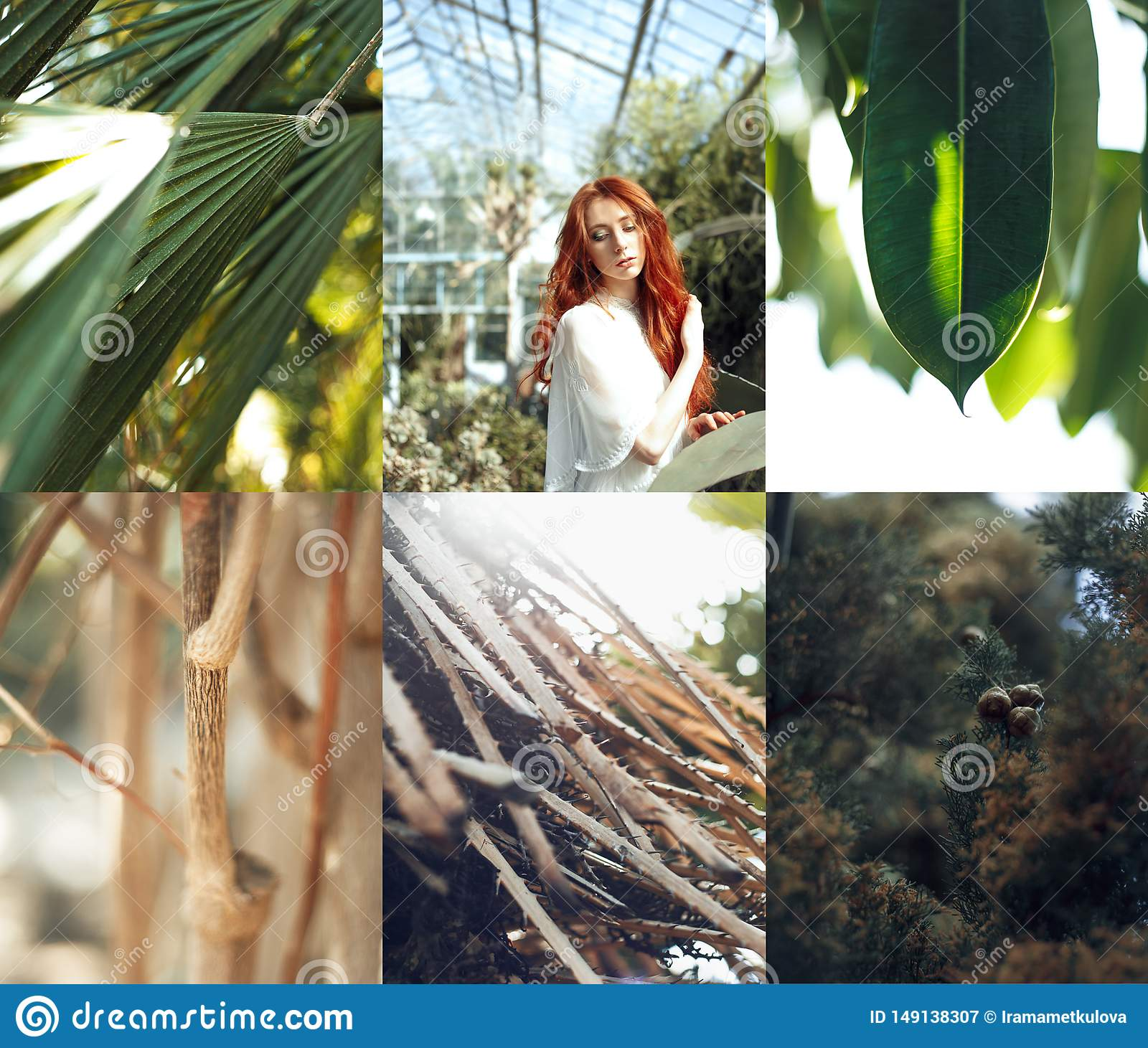 Red hair girl  portrait with tropic plants collage