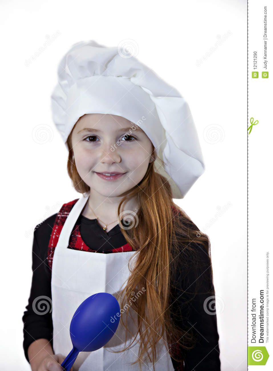 Red Haired Child In Chef Hat Stock Photo