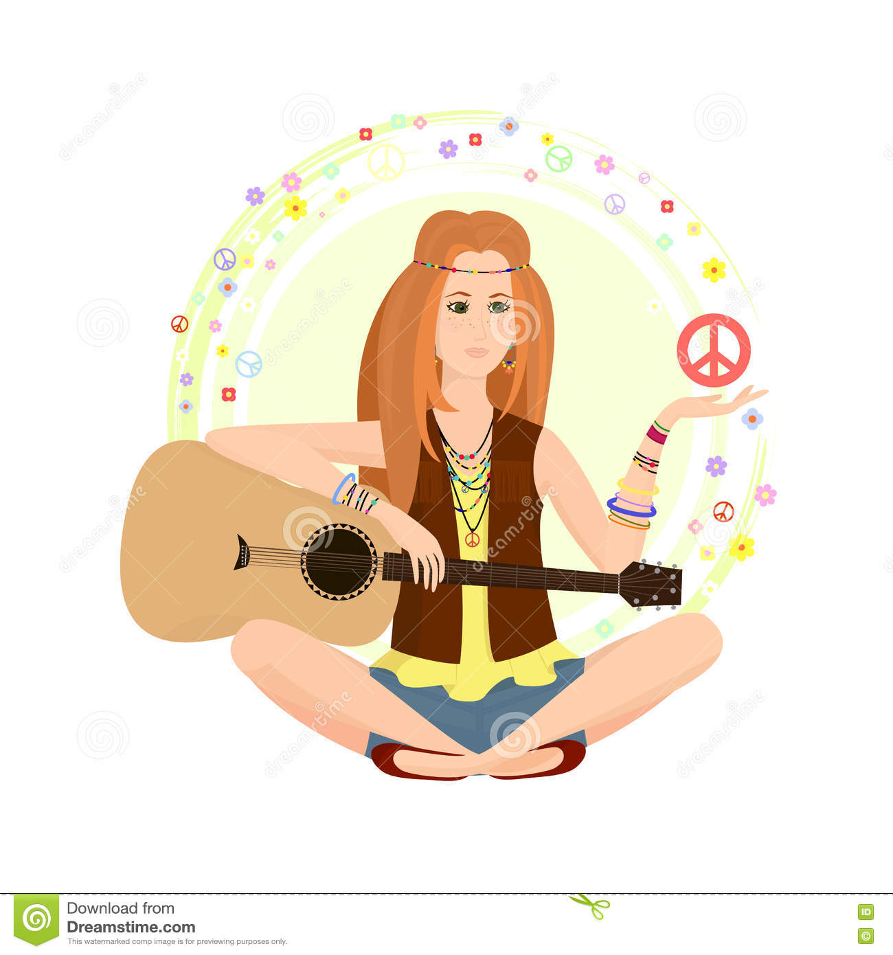 Red Haired Girl Of Hippie Stock Vector Illustration Of Rock