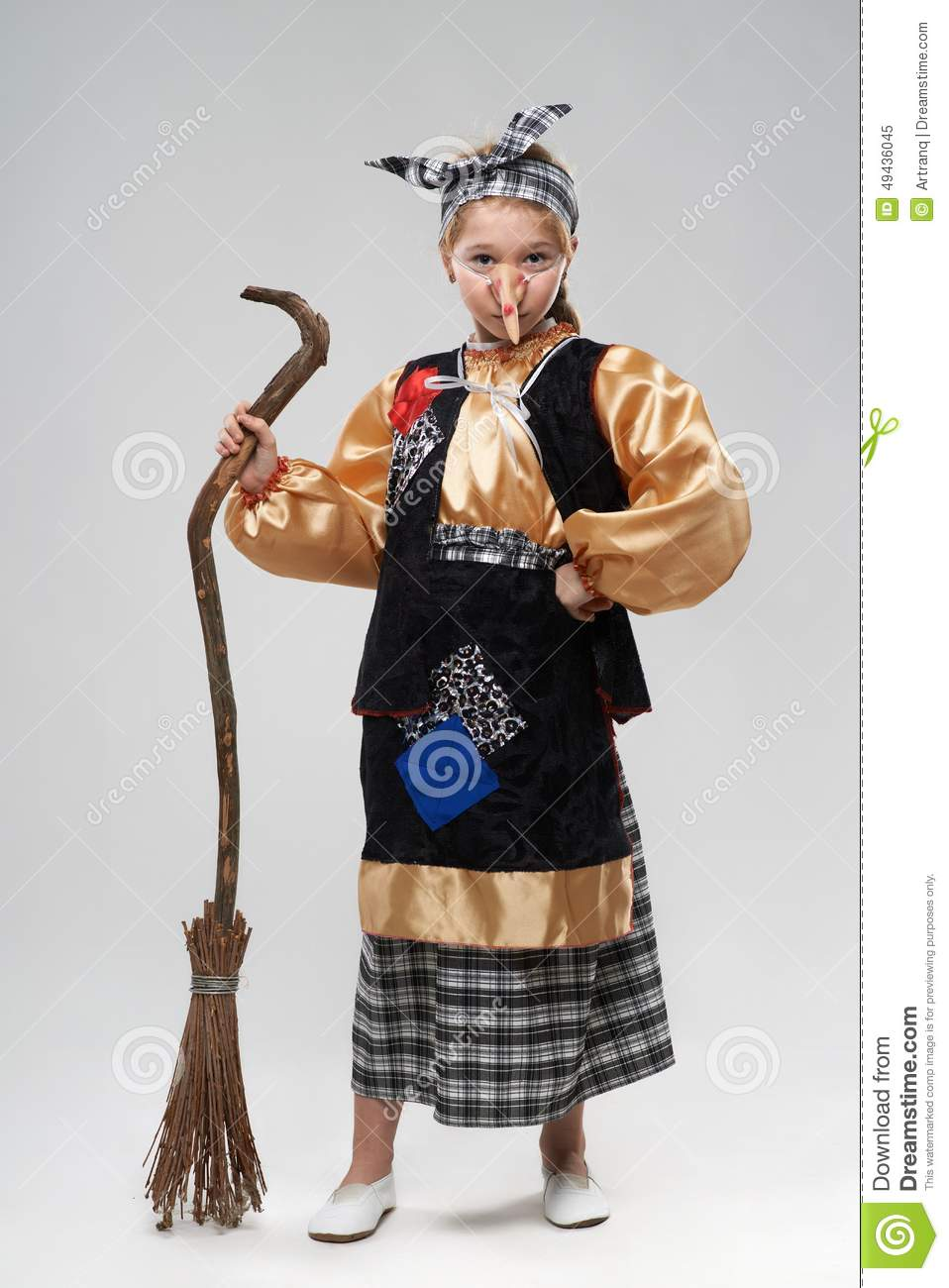 Red-haired Girl In Witch Costume With A Big Nose Stock Photo ...