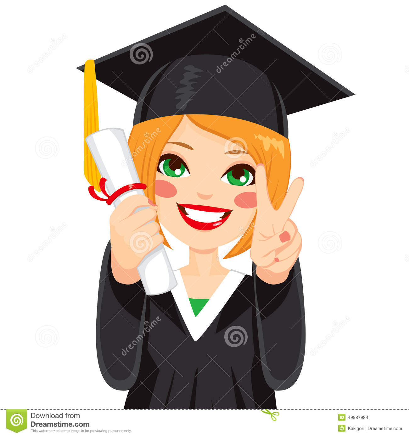Red Haired Graduation Girl Stock Vector Image Of Cute