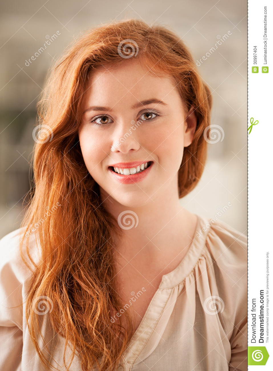 Red Haired Woman Stock Photo Image Of Camera Portrait