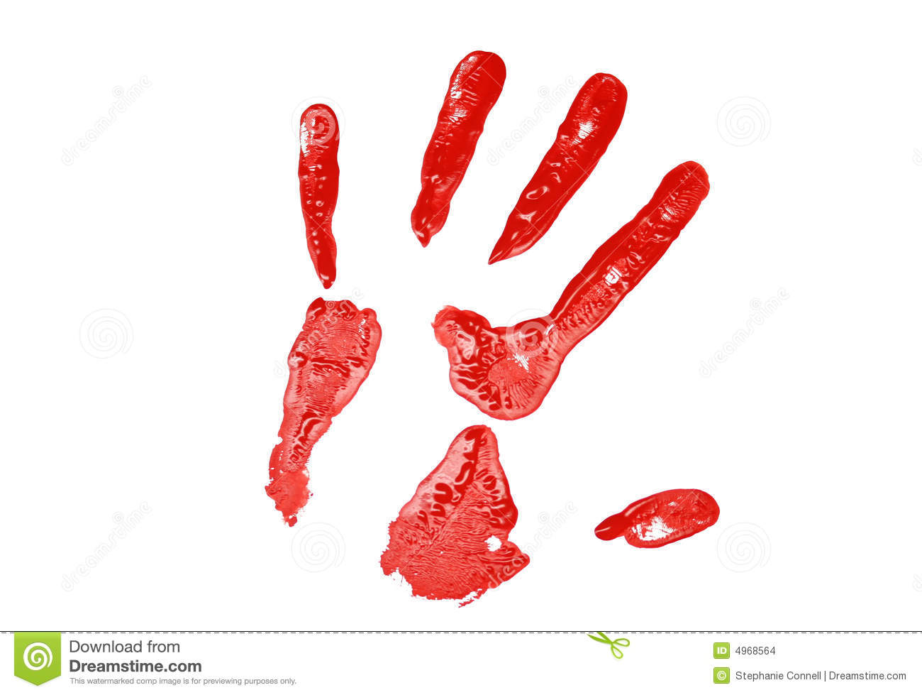 red hand print stock photo image of primary finger paint 4968564