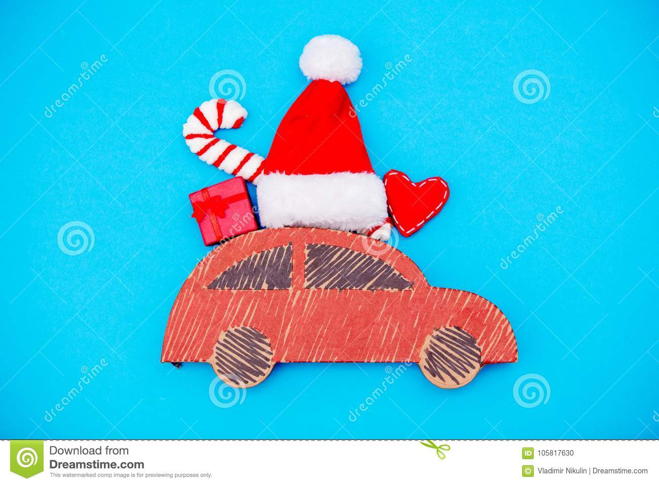 Red Handmade Car Delivery With Christmas Gifts Stock Photo - Image ...