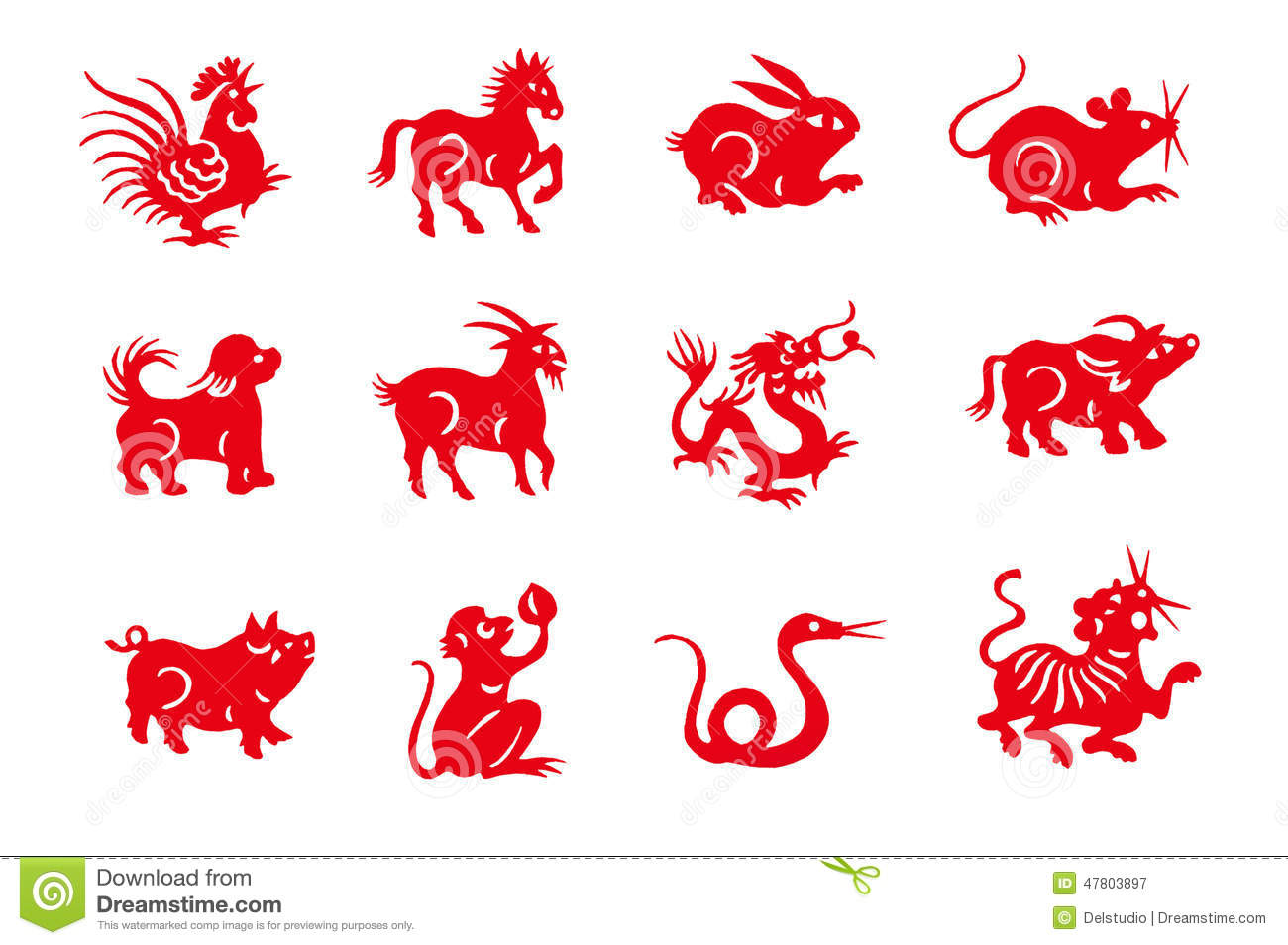 Red Handmade Cut Paper Chinese Zodiac Animals Stock Photo - Image ...