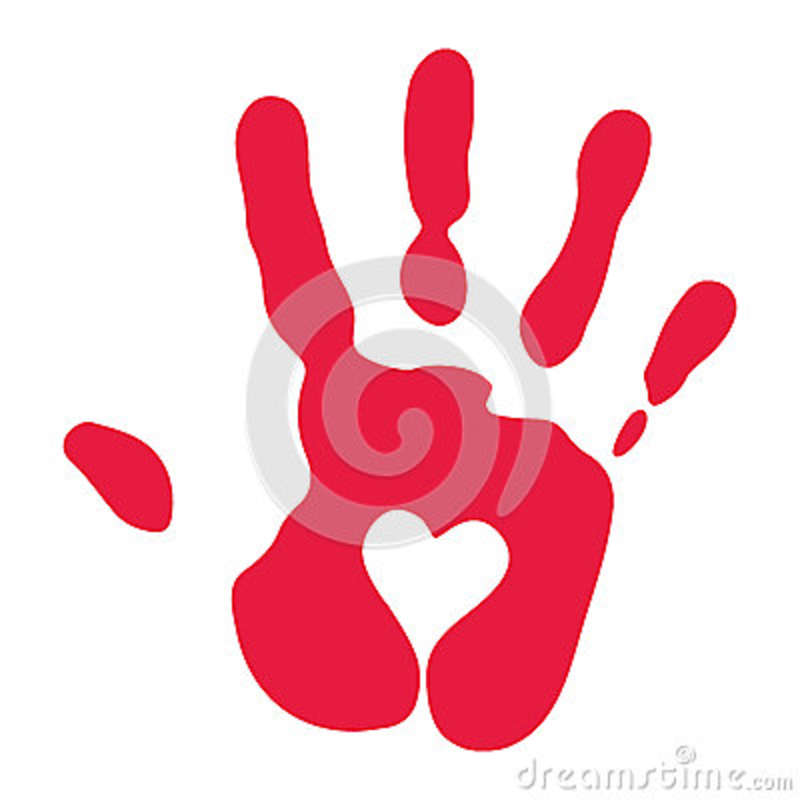 red handprint with heart symbol stock vector image 51043453