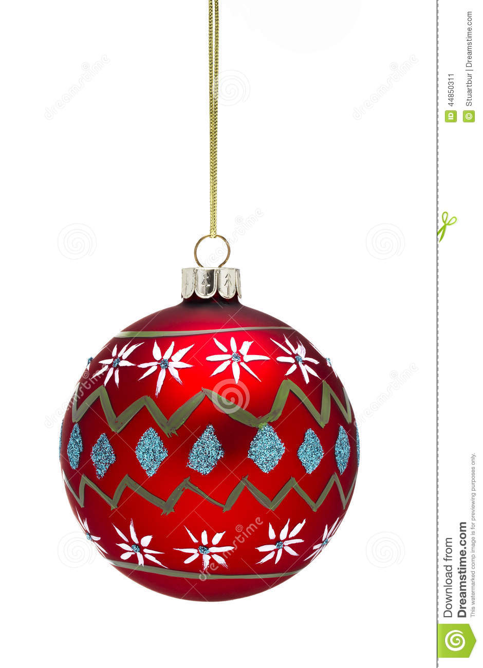 Red hanging bauble stock image image of white for White christmas baubles
