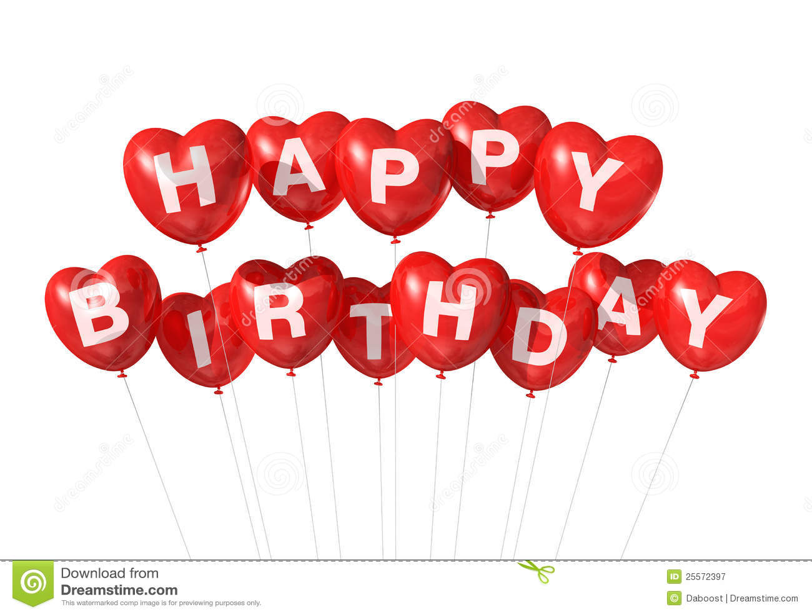 Red Happy Birthday Heart Shape Balloons Royalty Free Stock Photography ...