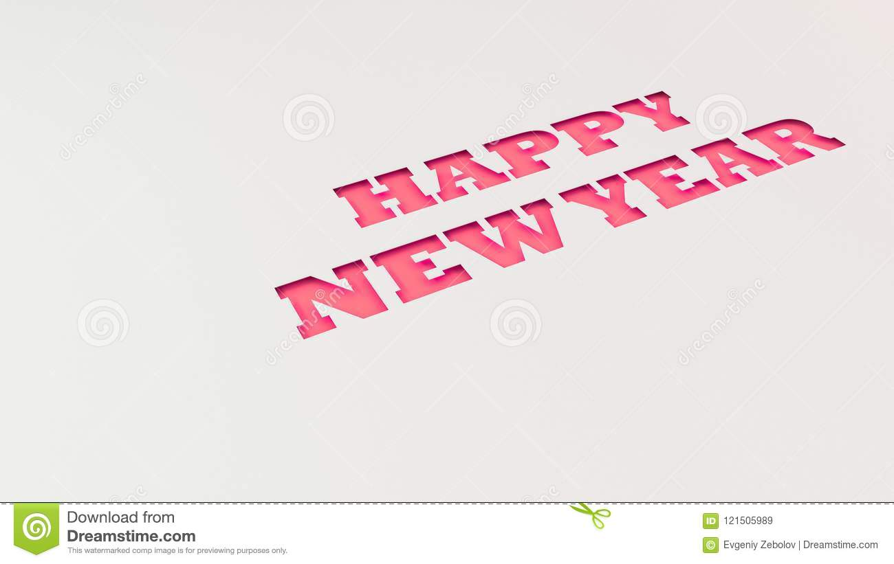 Red Happy New Year Words Cut In White Paper Stock Illustration ...