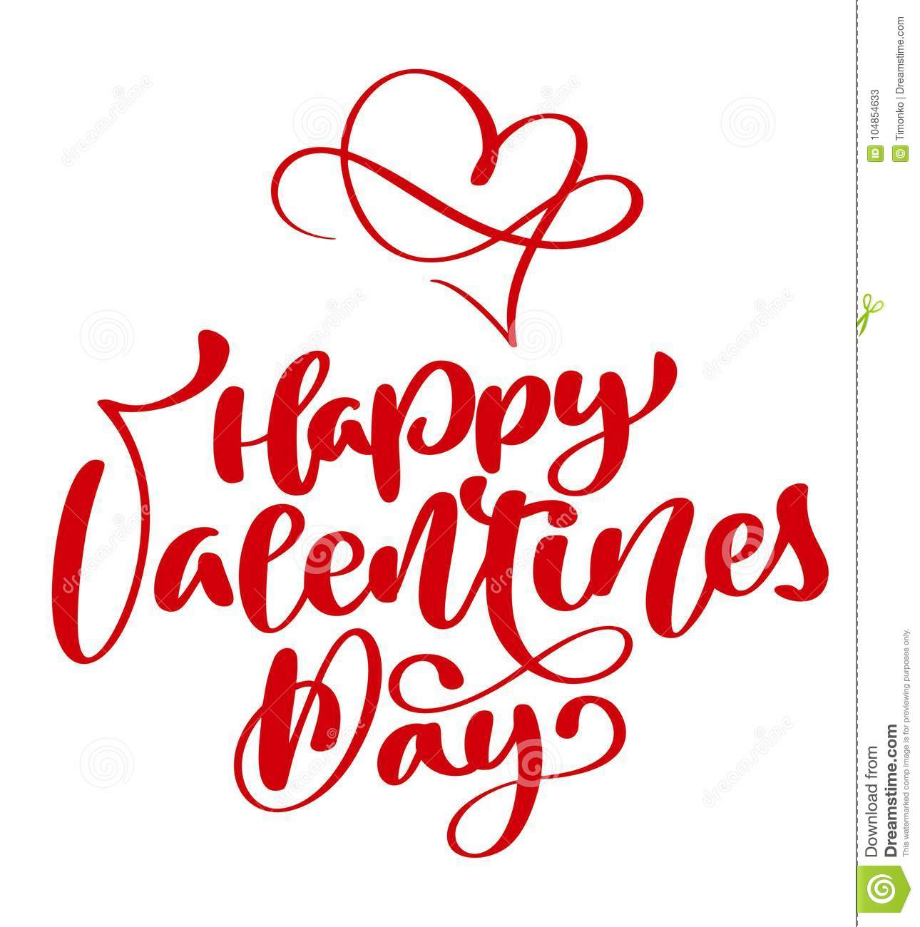 Red Happy Valentines Day Typography Poster With Handwritten