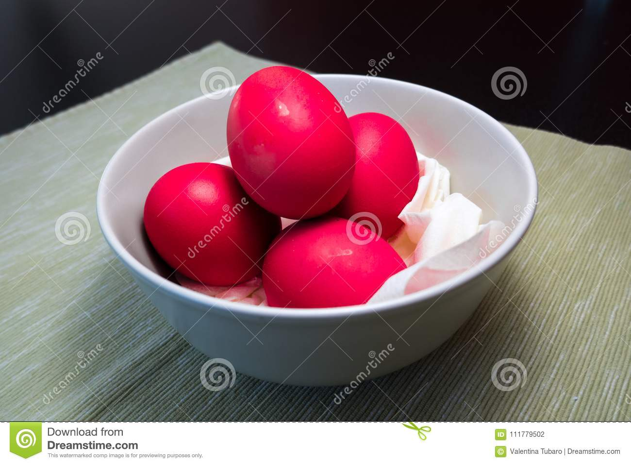 Red hard boiled eggs for the Easter party