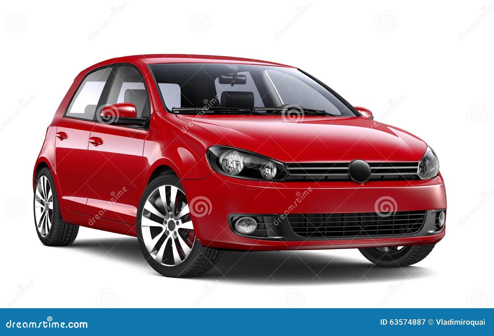 Red Hatchback Car Stock Illustration - Image: 63574887