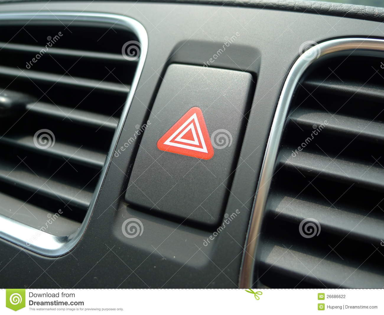 Red Hazard Light In Car Stock Photo Image Of Detail