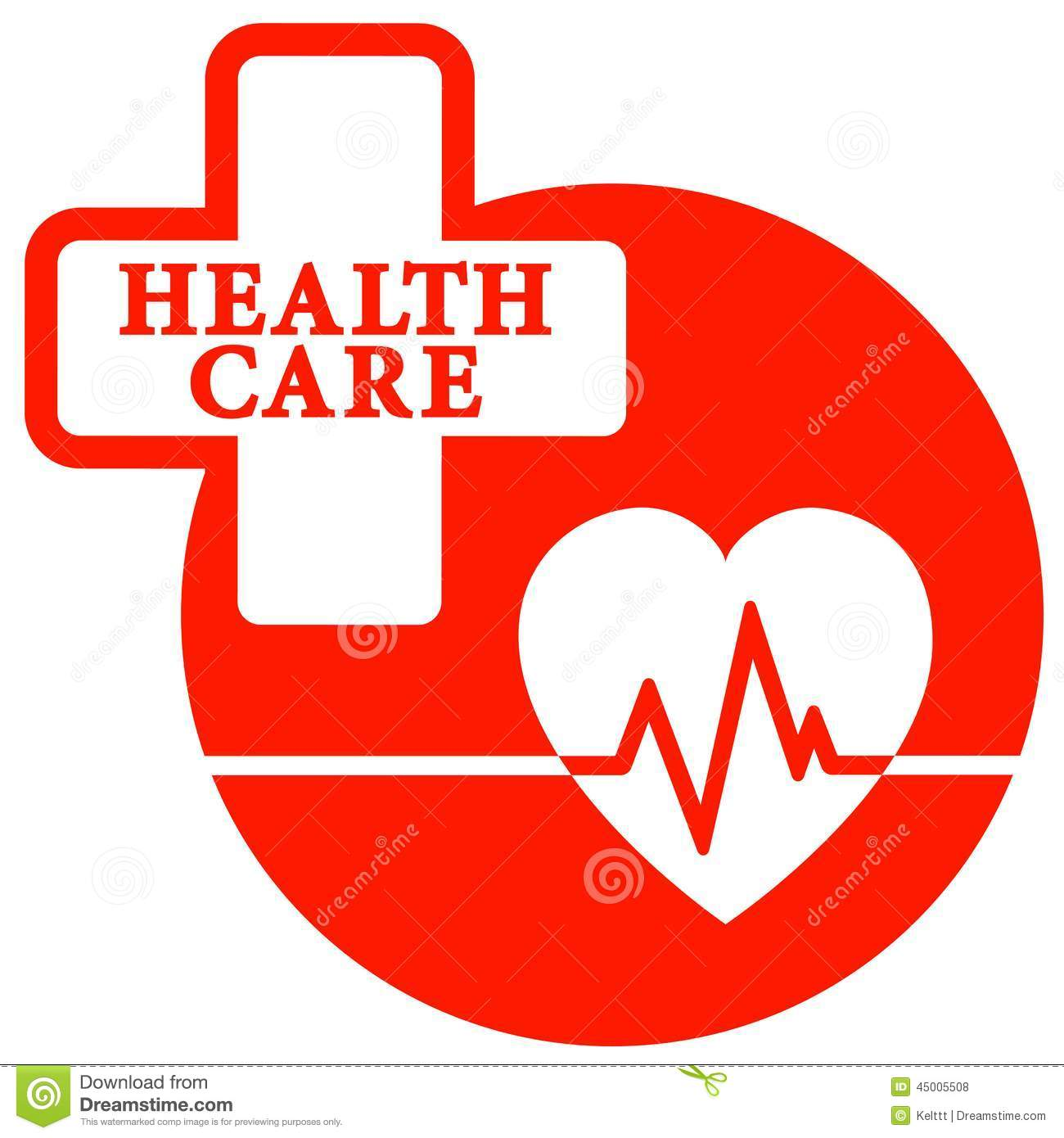 Red Health Care Icon With Heart Stock Vector ...