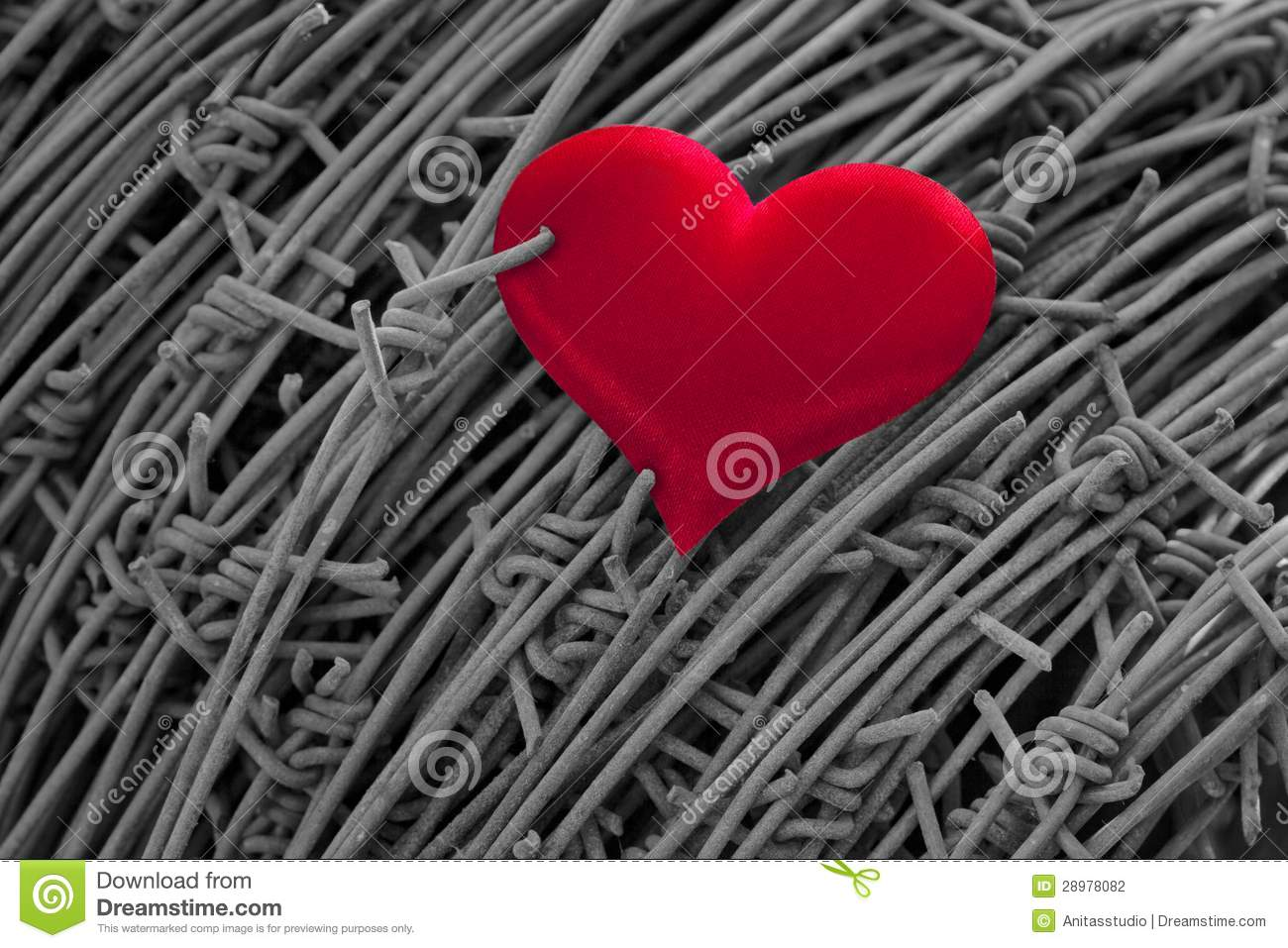Red Heart On A Background Of Barbed Wire Stock Photo - Image of ...