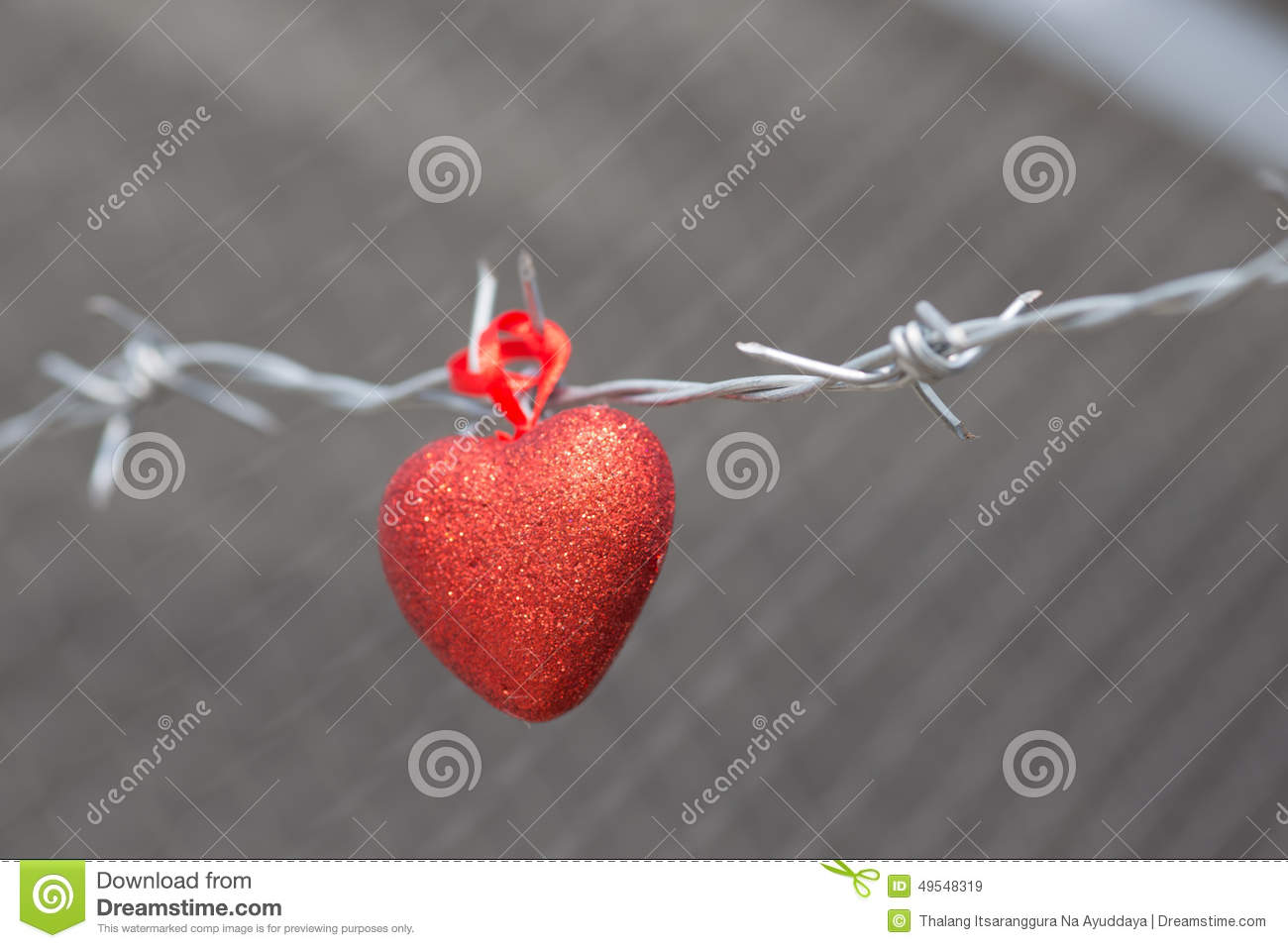 Red Heart On A Background Of Barbed Wire Stock Image - Image of ...