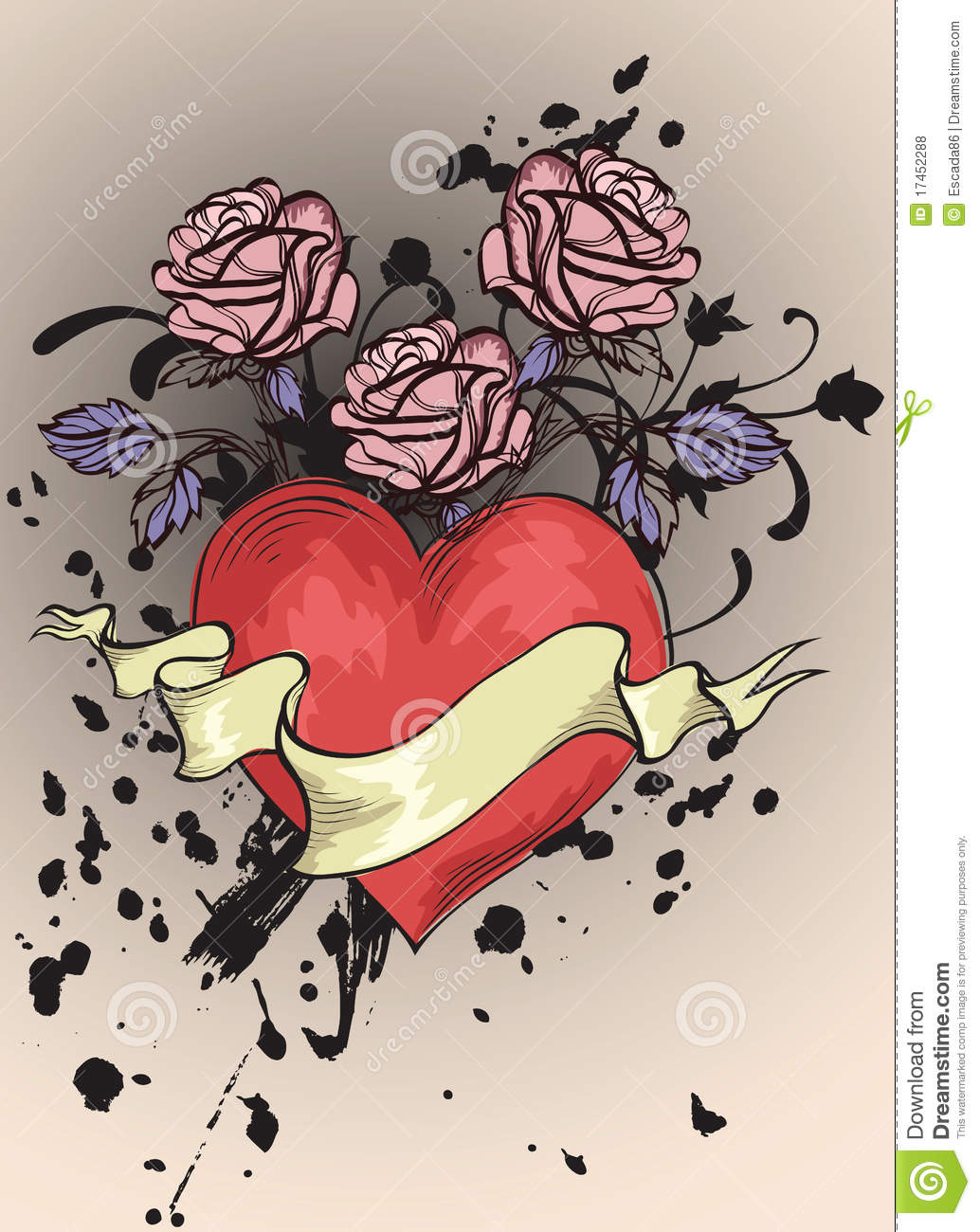 Heart With Rose And Banner: Red Heart, Banner And Roses Royalty Free Stock Photos