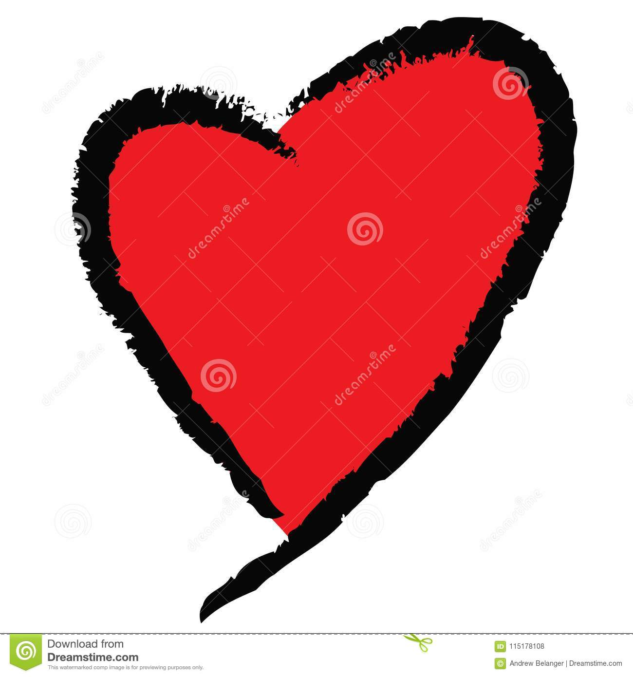 Red Heart With Black Scribble Outline Stock Vector Illustration Of
