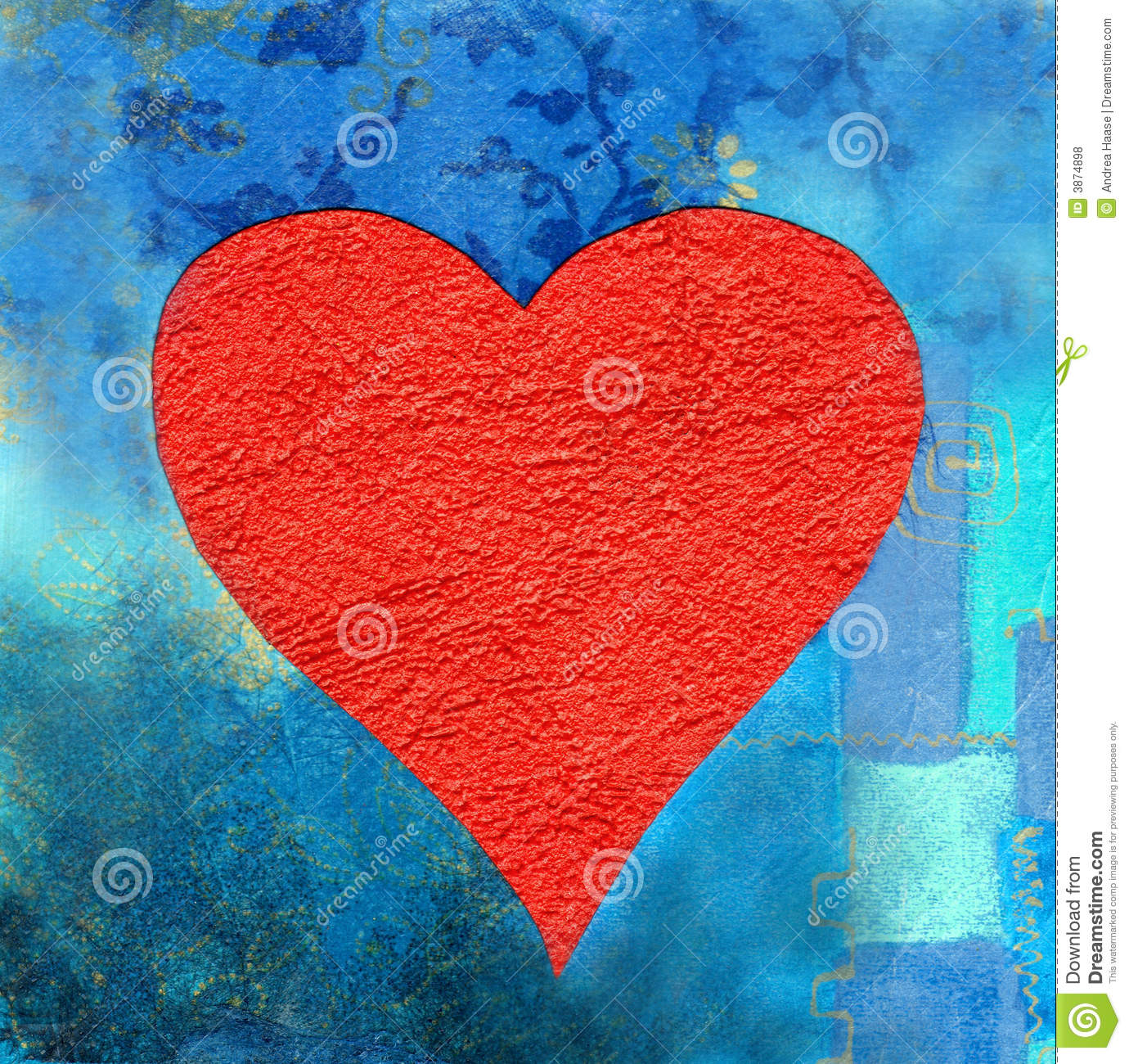 Red Heart On Blue Background Stock Illustration ...
