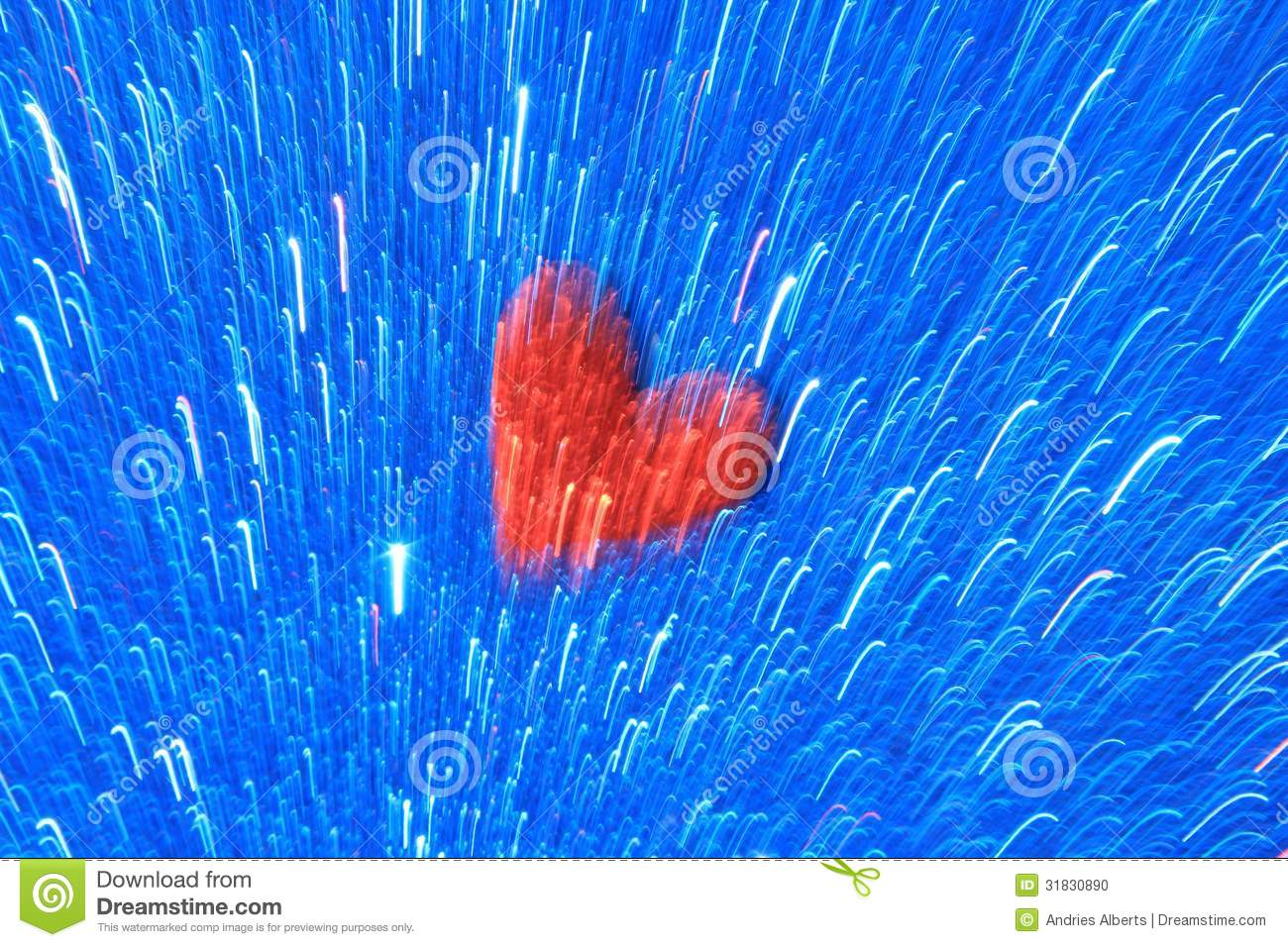 Red Heart On Blue Light Line Background - Abstract Art Of ...