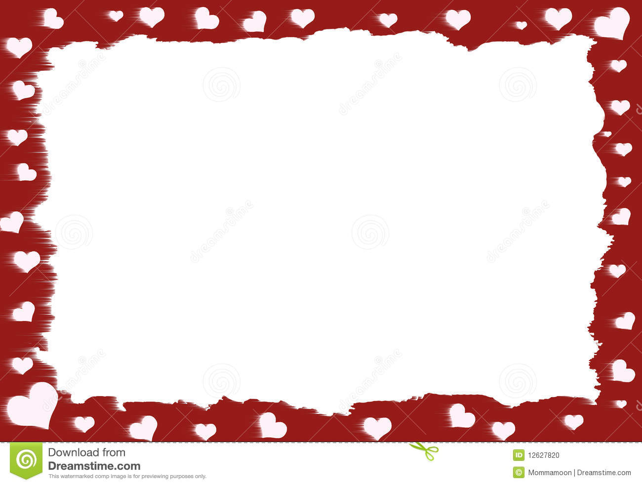 Red and white Heart Border with white area in the center for text.