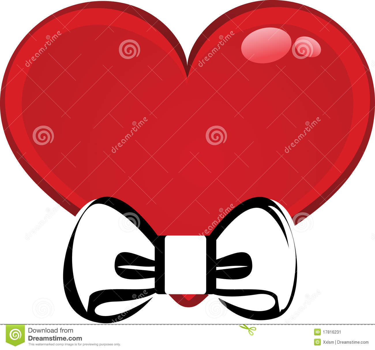 Red heart with bow tie stock vector. Image of message ...