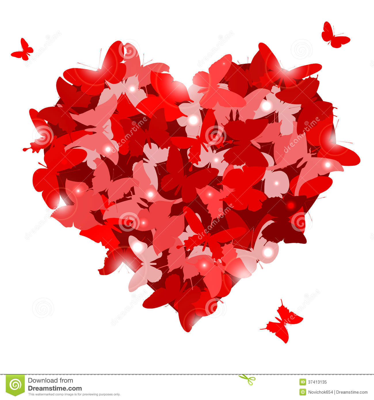 Red Heart With Butterflies For Valentineu0027s Day. Love Concept. Royalty Free  Stock Photo
